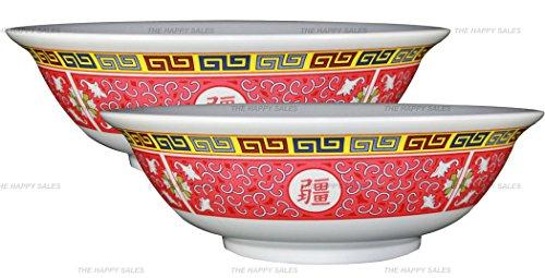 Happy Sales set of 2 Melamine Oriental Pho Noodle Soup Bowl 36 Ounce Longevity Design