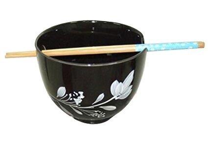 MasterChinese Japanese Style Ramen Udong Noodle Soup Bowl Set 16 Fl Oz with Chopsticks White Flower Black BG