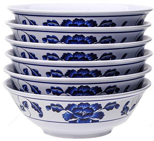 Melamine Oriental Pho Noodle Soup Bowl 36 Ounce Lotus Design Set of 6