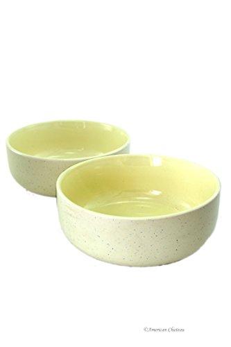 Set 2 Large 24oz Cream Vintage Speckle Wide Shallow Porcelain Noodle Soup Bowls