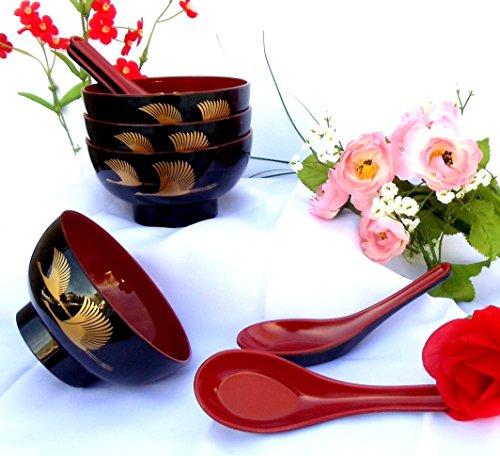 1 Set 4 Pieces Golden Crane Lacquer Rice Miso Soup Bowl Bowls  4 Pieces Spoons Redblack NEW