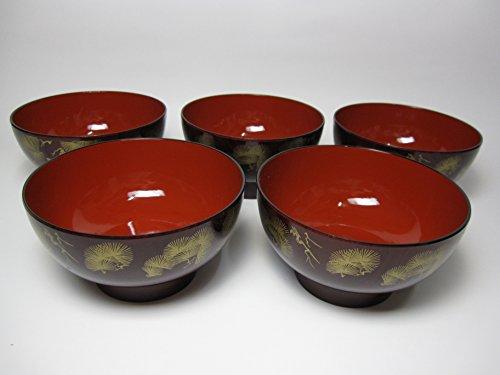 Japanese lacquer miso soup bowl 5pcs set diameter45inc height24inc