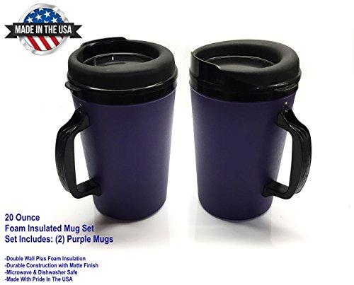 2 ThermoServ Foam Insulated Coffee Mug 20 oz wLids - 2 Purple