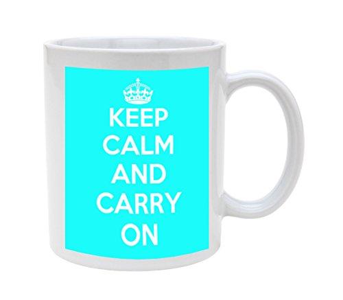 Ceramic Baby Blue Keep Calm Carry On 11oz Coffee Mug Cup