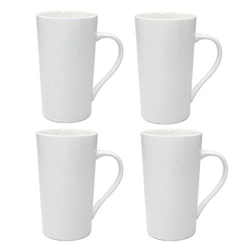 Momugs Simple Pure Large Milk Mug Tall White Ceramic Coffee Cup 20 oz 4pcs