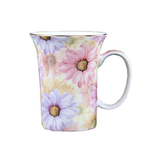 ufengkeCreative Cute European England Royal Luxury Bone China Tea Cup Ceramic Coffee Cup Mugs-Pink And Blue Chrysanthemum Flower