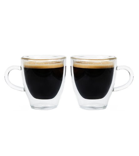 Grosche Turin Double Walled Hand Blown Glass Espresso Cups 140ml 47 Oz Set of 2