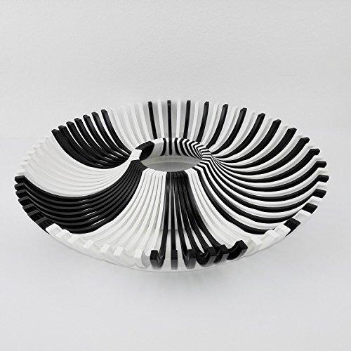Diy fruit plate - Tough ABS Plastic Fruit Bowl - Make Beautiful Fruit Arrangements - White Black Fruit Trays for Parties Weddings Baby Showers-White Black