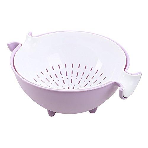 HWKAIZ Kitchen Strainer Plastic Fruit Bowl Holder Multi Wash Fruit Basket Drain Fruits Vegetables Basket Purple