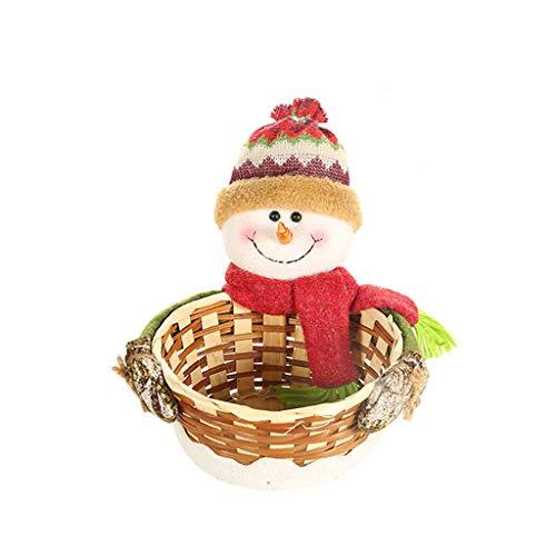 P-RULER Christmas Candy Storage Holder Box Xmas Decoration Table Ornament Santa Claus Snowman Elk Rattan Basket Fruit Dessert Bowl Gift boy
