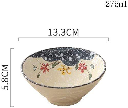 QTQHOME Creative Salad Bowl Home Noodle Bowl Japanese Ceramic Fruit Dessert Bowl Rice Bowl 133x58cm5 Inch ColorA