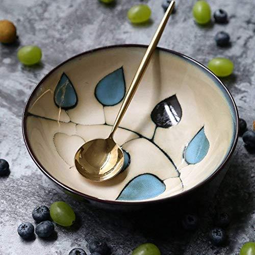 QTQHOME Japanese Style Vintage Ceramic Hand-Painted Bowl Salad Bowl Fruit Dessert Bowl Breakfast Bowl Noodle Bowls Dinnerware Size700ml