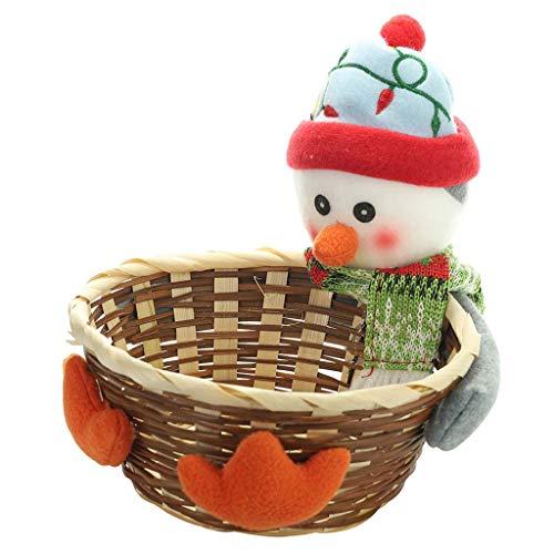 niumanery Christmas Candy Storage Holder Box Xmas Decoration Table Ornament Santa Claus Snowman Elk Rattan Basket Fruit Dessert Bowl Gift Penguin Large