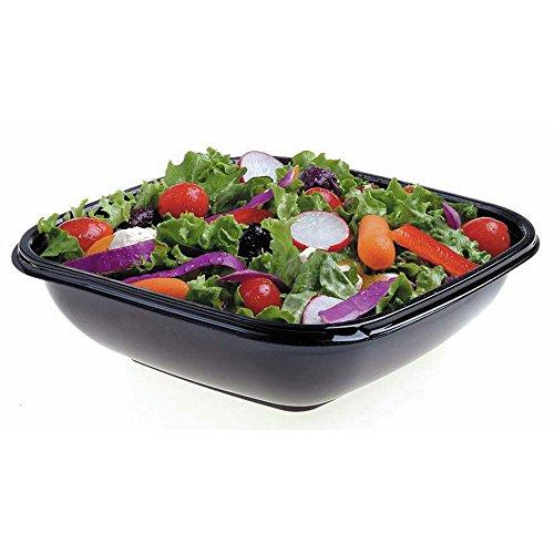 Square Bowl2 Medium 24 oz Black Plastic Bowl - 7 12sq x 1 12D