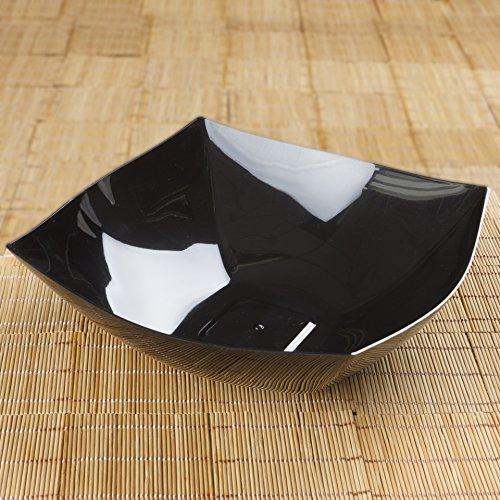 Tableclothsfactory 12 Pcs - Black Square 4qt Disposable Plastic Serving Bowl