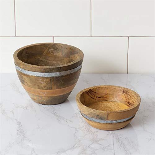Mango Wood Serving Bowls with Metal Embellishments MedSm Set