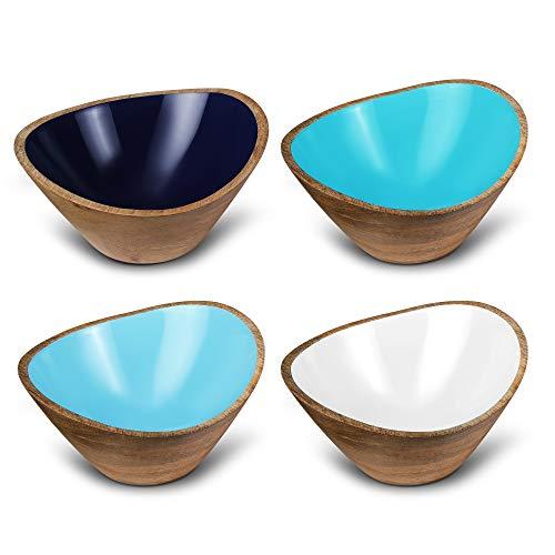 Set of 4 Wooden Salad Bowls Wood Bowl Set for Serving Cereals Pasta Fruit Mango Wood Bowls for Food 6 Diameter x 35 Height Shades of Blue