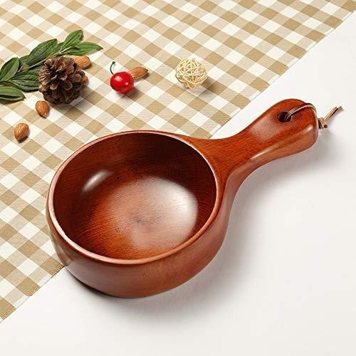 QTQHOME Japanese Style Waved Wooden Rice Bowl Noodle Bowl Long Handle Soup Salad Fruit Bowl Home Kitchen Accessory Kitchen Art Tool ColorB