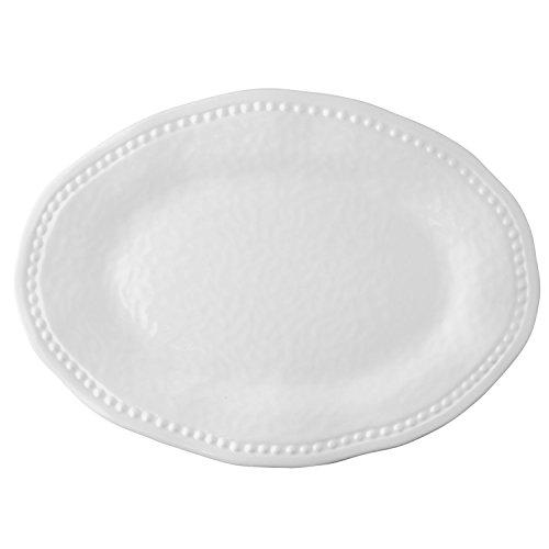 Beaded White Melamine 18 Oval Platter