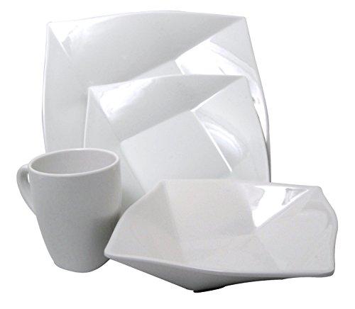 Kitchen Elements White Melamine 4-Piece Square Dinnerware Set