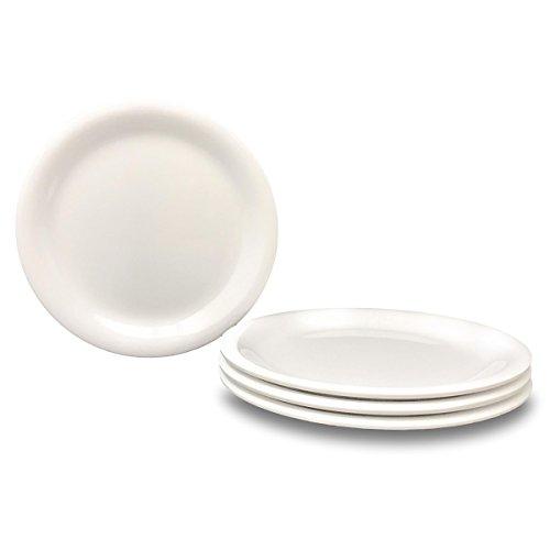 Restaurant Grade White Melamine and Ceramic Dinner Plates Set of 4 - Look and Feel of Ceramic with Durability of Melamine Desert Plate 725 in