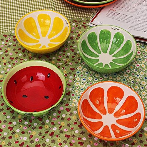 Handmade Ceramic Bowl Hand Painted Fruit Watermelon Rice Bowl Soup Ceramic BowlRandom Style