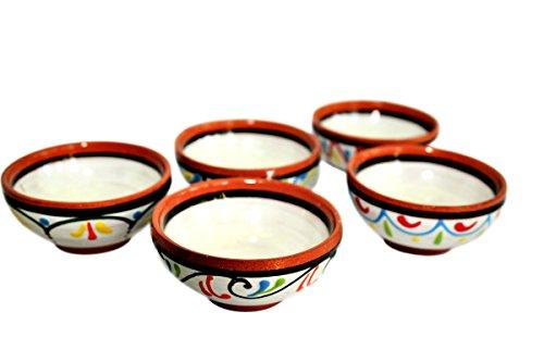 Cactus Canyon Ceramics Very Small Spanish Terracotta 5-Piece Very Small Mini-Bowl Pinch Bowls Set White