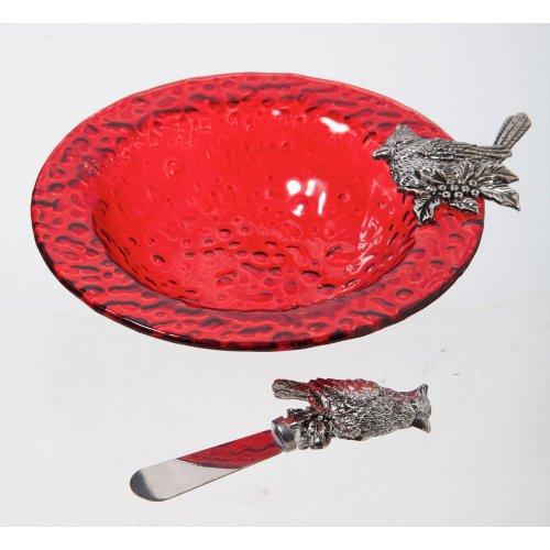 Christmas Cardinal Glass Dip Bowl
