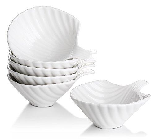 Lifver 6-Pack Bowl SetsRamekins Lovely Shell-shape Porcelain Dip Bowls White