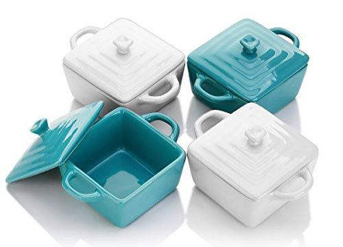 Lifver 8-oz Ceramic RamekinsMini CasseroleSoufflé Dish Set of 4 Dip Bowls White Green