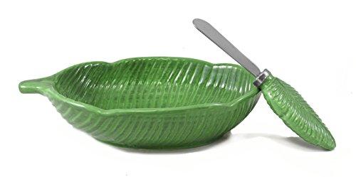 Tropical Palm Leaf Decorative Dip Bowl Spreader Set