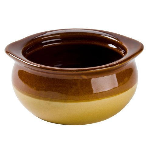 CAC OC-12-C Brown and Ivory 12 oz Onion Soup Crock  Bowl - 24  Case