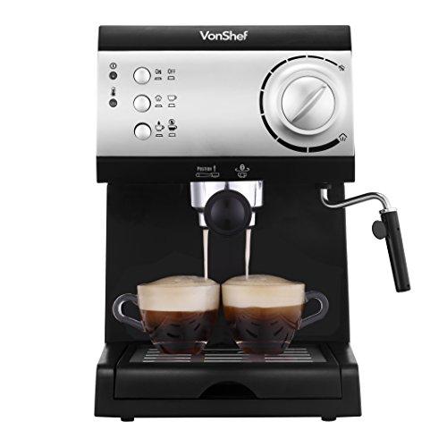 Vonshef Electric 15 Bar Automatic Espresso And Cappuccino Coffee Maker Machine