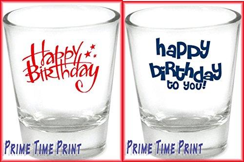 Happy Birthday gift shot glass set of two shotglasses
