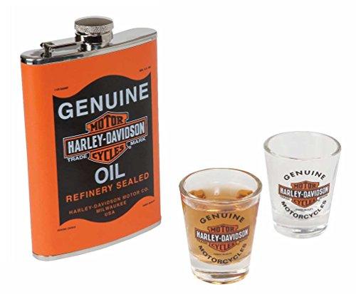Harley Davidson Genuine Oil Can Hip Flask Shot Glass Gift Set