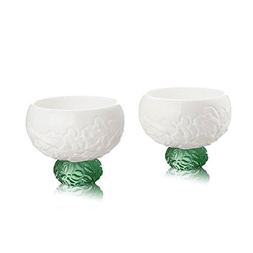 LIULI Crystal Art Sake Soju Whiskey Shot Glass Gift Set Handmade Bone China 2 Spring Peony- Green