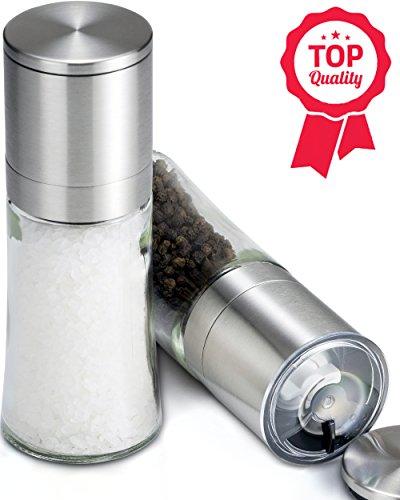 Contoured Salt And Pepper Grinder Set W/ Bonus Shaker Lids, Solid Glass, Brushed Stainless Steel, Peppercorn Grinders