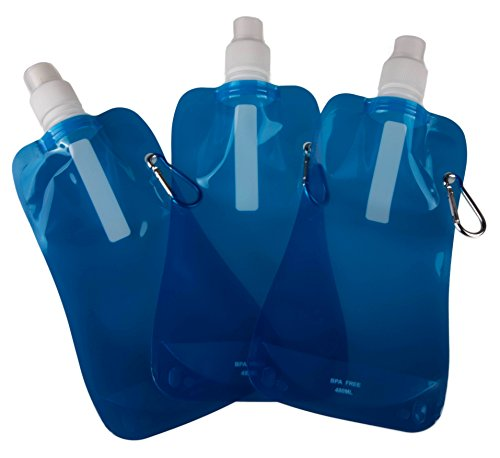 Sports Water Bottles by Clever Creations  Collapsible Camping Friendly  BPA Free  Unique Collapsible Bottles hold 480 mL each - 3 Pack  Perfect for Biking Hiking or Relaxing  Blue