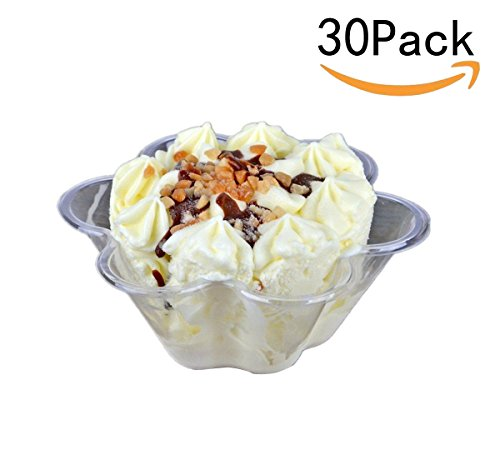 JKLcom Ice Cream Bowls Clear Plastic Dessert bowl Flower Ice Cream Bowls Dessert Cups 30