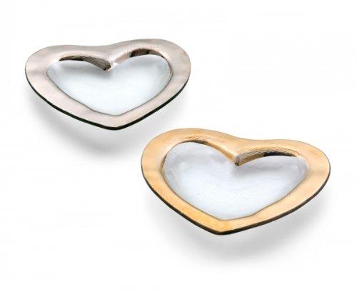 Annieglass 8 Glass Heart Bowl with Platinum Trim