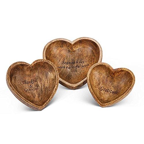 Antiquity Wooden Heart Bowls 3 Piece Set