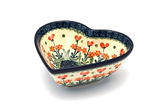 Polish Pottery Bowl - Deep Heart - Peach Spring Daisy