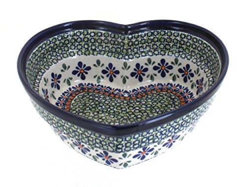 Polish Pottery Mosaic Flower Large Heart Bowl