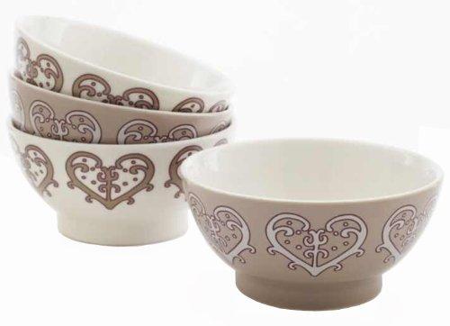 Yedi Houseware Classic Coffee and Tea Paisley Heart Bowls Set of 4