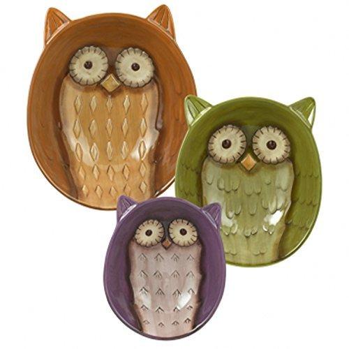 Grasslands Road Owl Bowls Set of 3