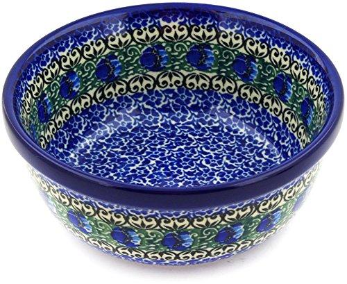 Polish Pottery Bowl 6-inch made by Ceramika Artystyczna Emerald Tulips Theme