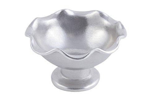 Bon Chef 9936PG Aluminum Pewter Glo Asian Fusion Line Scalloped Pedestal Bowl 6 Diameter x 3-38 Height