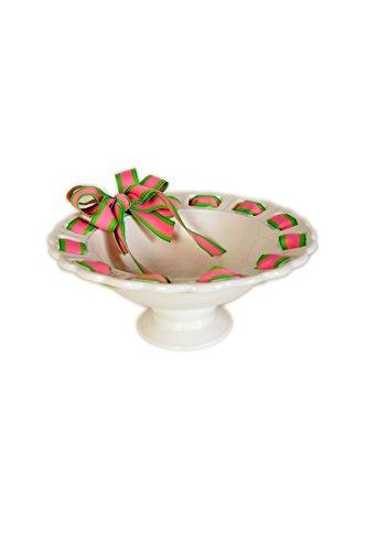 Prissy Plates 24001-184 Pedestal Fruit Bowl CandyNut Dish with PinkLime Stripe Ribbon White