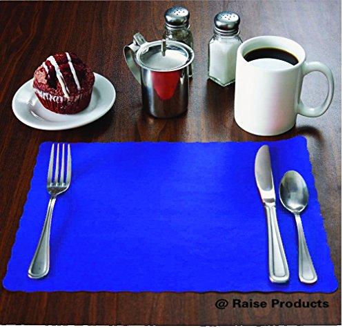 Raise Flat Disposable Paper Placemats Blue Scalloped Edge 10x14 50-Pack