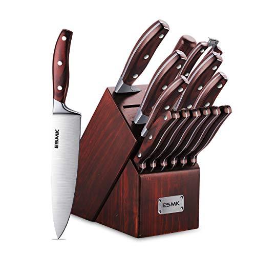 Knife Set 15-Piece Kitchen Knife Set with Block Wooden Manual Sharpening for Chef Knife Block Set German Stainless Steel ESMK 15 PCs Knife Block Set